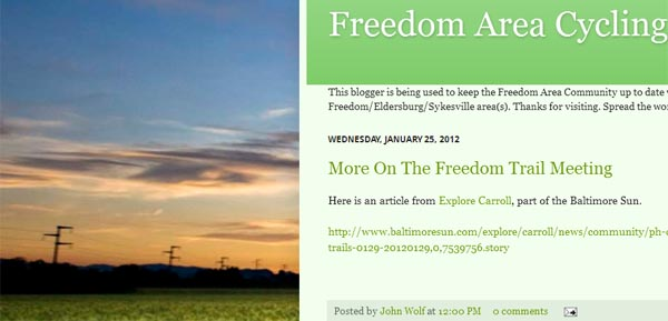 A look at the Freedom Area Cycling blog's homepage