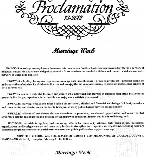 Carroll County Commissioners Marriage Proclamation.