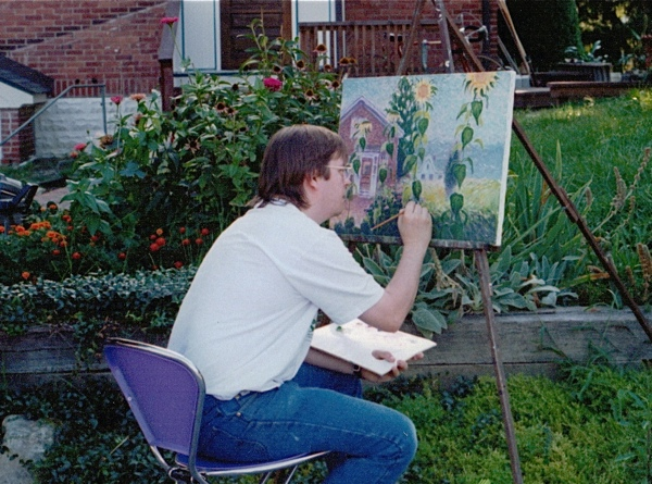 Wiley Purkey Painting Sunflowers in front of his house on Main Street in Sykesville