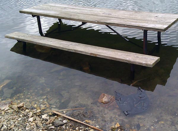 Bench and bag in the water