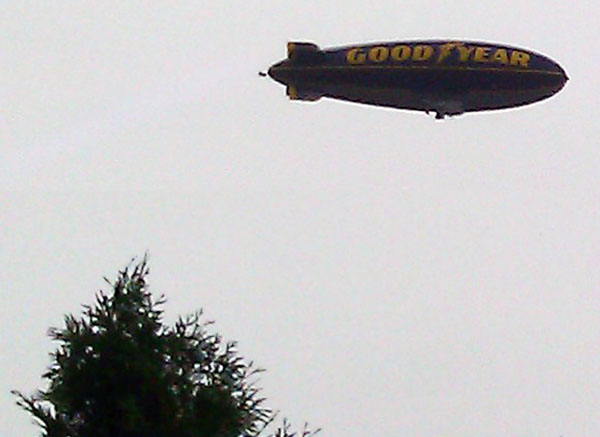 Good Year Blimp flies over Sykesville
